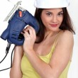 Foxy female carpenter holding sander machine — Stock Photo #14702151