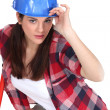 Woman with blue helmet — Stock Photo