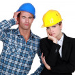 Annoyed construction worlers — Stock Photo