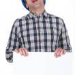 Screaming builder with a board left blank for your message — Stock Photo