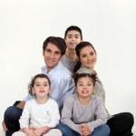 Parents with three children in studio — Stock Photo