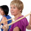 Senior women doing exercises — Stock Photo