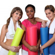Stock Photo: Young women going to yoga class together