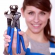 Stock Photo: Female craftsmholding out pliers