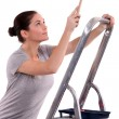 Stock Photo: Womwith paint brush climbing step ladder