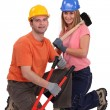 Stock Photo: Male and female carpenter
