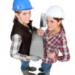 Female bricklayers — Stock Photo