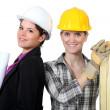 Female architect stood with female carpenter — Stockfoto #14708031
