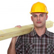 Builder carrying timber — Stock Photo #14708103