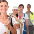 Young with different occupations — Stock Photo