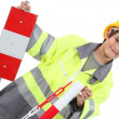 Portrait of little boy in adult working clothes — Stock Photo #14709615