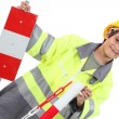 Stock Photo: Portrait of little boy in adult working clothes