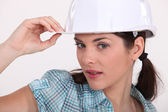 Sexy woman wearing a helmet — Stock Photo