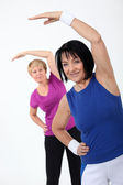 Two senior women doing fitness — Stock Photo