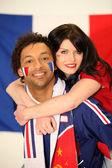 Paar van franse supporters — Stockfoto