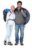 Couple stood with camping equipment — Stock Photo