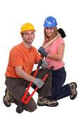 Male and female carpenter — Stock Photo