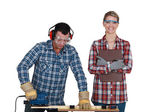 Woman inspecting builders work — Stock Photo