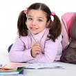 Little schoolgirl with backpack — Stock Photo