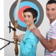 Stock Photo: Practicing bow shooting.