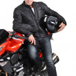 Stock Photo: Biker and bike