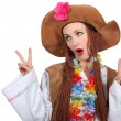 Woman dressed as hippie — Stock Photo