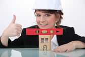 Engineer approving the use of a spirit level — Stock Photo