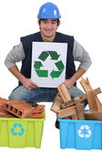 Tradesman promoting recycling — Stock Photo