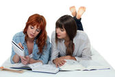 Two girls studying together — Stock Photo