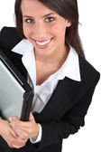 Business woman smiling — Stok fotoğraf