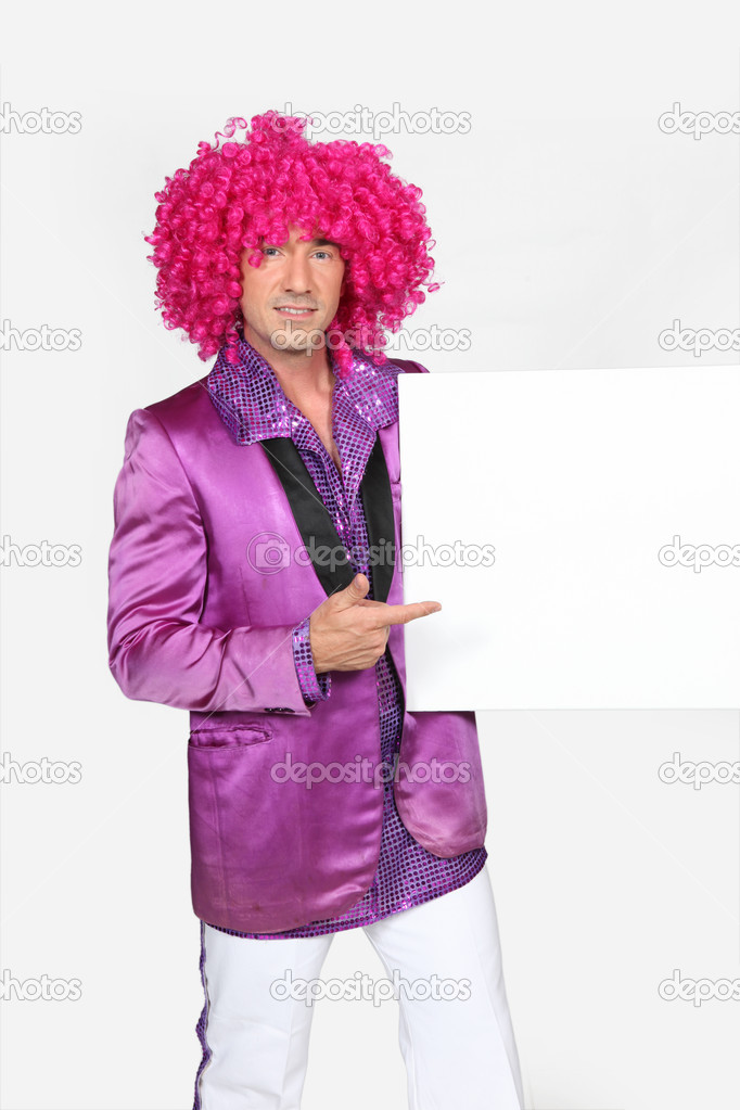Man dressed in 70s outfit holding blank message board — Stock Photo #14717511