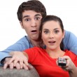 Couple watching television — Foto de Stock