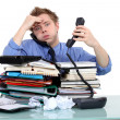 Overworked civil servant — Stock Photo