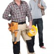 Teenager stood with woodworker — Stock Photo #14726087