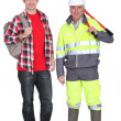 A mature construction worker and his grandson. — Stock Photo #14726769