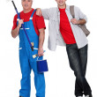 Experienced and apprentice painter — Stock Photo