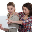 Two shocked girls looking at laptop — Stock Photo #14727453