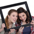 Stock Photo: Two friends in a frame.