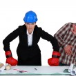 Fight between architect and builder — Stock Photo