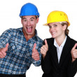 Architect and builder jubilant — Stock Photo
