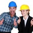 Architect and builder jubilant — Stock Photo #14727893