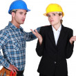 Upset worker and architect — Stock Photo #14727963