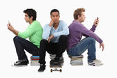 Goup of bored young men — Stock Photo