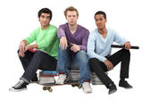 Trio of male students — Stock Photo