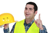 Construction worker having an idea — Stock Photo