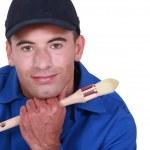 Man holding paint brush — Stock Photo #14730495