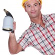 Workman with a blowtorch — Stock Photo