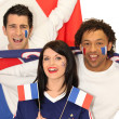 Three French football supporters — Stock Photo