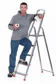 Painter resting on a stepladder — Stock Photo