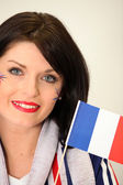 French Supporter waving miniature flag — Stock Photo